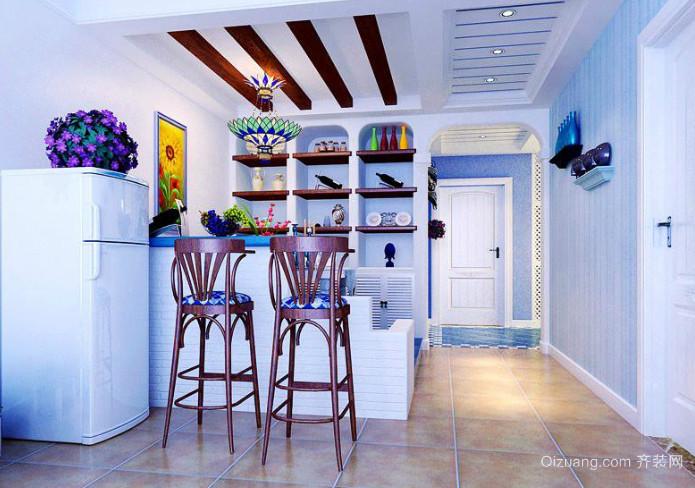 2015地中海风格厨房吧台装修效果图