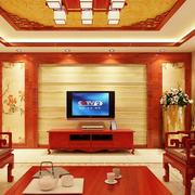中式风格深色原木电视背景墙装饰