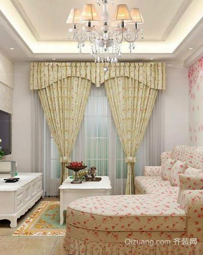 90平米韩式田园风格客厅飘窗装修效果图