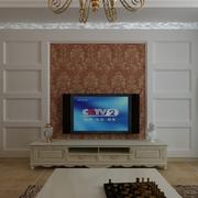 欧式田园风格别墅电视背景墙装饰