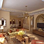 美式简约客厅拱形电视背景墙装饰