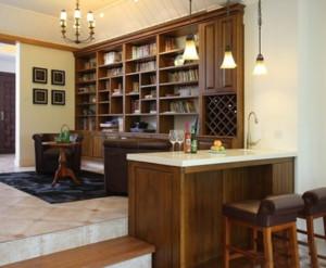 美式简约原木酒柜吧台装饰