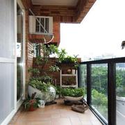阳台干净瓷砖地板