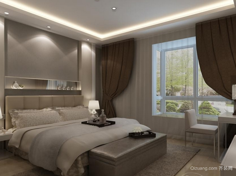 120平米现代简约卧室背景墙装修效果图欣赏