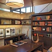 欧式简约风格原木书房装饰