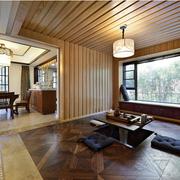 日式别墅客厅原木吊顶装饰