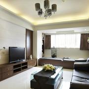 90平米简约风格客厅皮制沙发装饰