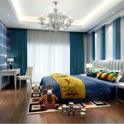 蓝色系简约风格卧室壁纸装饰