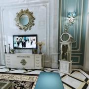 蓝色系精致别墅电视背景墙效果图