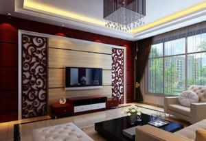 中式风格原木客厅电视背景墙装饰
