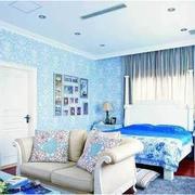 卧室简约风格蓝色系卧室装饰