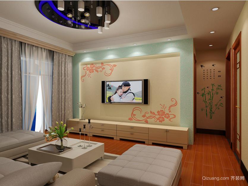 二居室都市客厅硅藻泥电视背景墙装修效果图