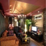 东南亚简约客厅木板吊顶装饰