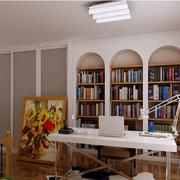 欧式简约风格书房拱形书架装饰