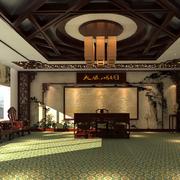东南亚风格办公室原木吊顶装饰