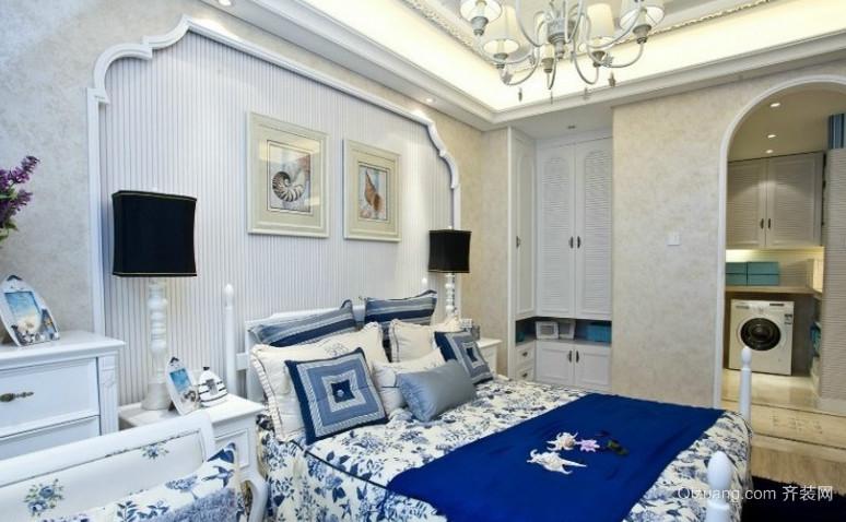 120㎡蓝色地中海风格卧室背景墙装修效果图欣赏
