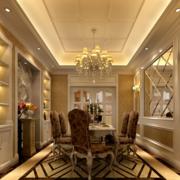 欧式大型餐厅整体式酒柜装饰