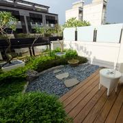 美式原木阳台地板装饰