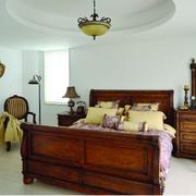 美式简约风格卧室原木床饰装饰