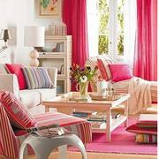 粉色系简约风格客厅沙发装饰