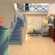 露台简约风格浅蓝色楼梯装饰