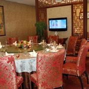 中式风格喜庆饭店包间装饰
