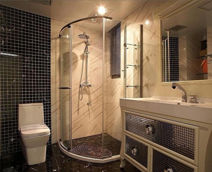 70平米小户型欧式卫生间瓷砖背景墙装修效果图