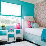 地中海蓝色系卧室背景墙装饰