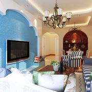 地中海简约客厅背景墙装饰