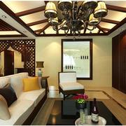 东南亚风格原木客厅吊顶装饰