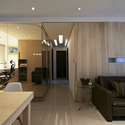90平米房屋简约风格客厅原木背景墙装饰