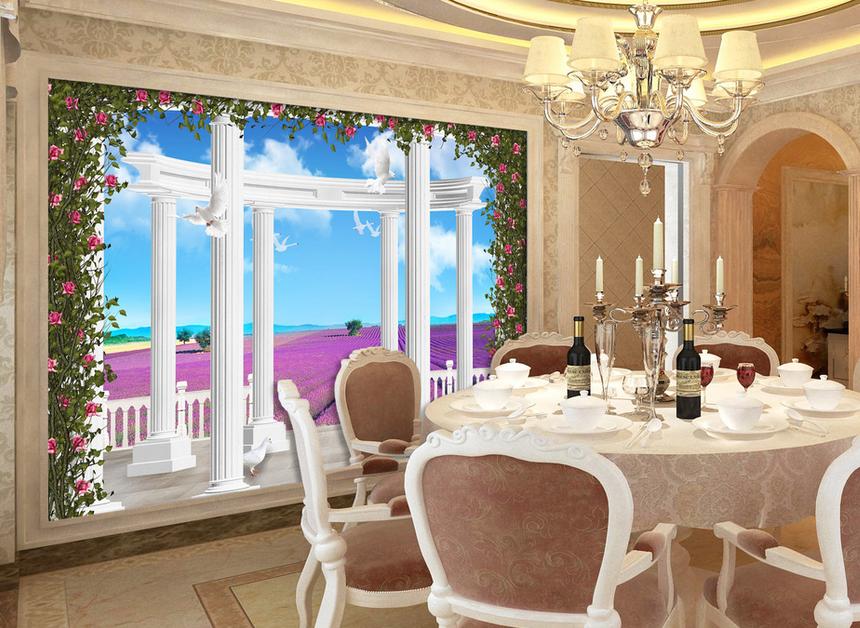 90 平米欧式客厅 罗马柱 电视背景墙 装修效果图