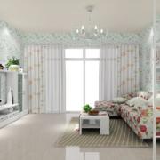 韩式清新客厅印花背景墙装饰