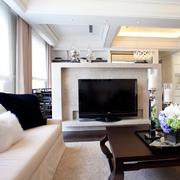 白色系简约客厅背景墙装饰