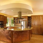美式混搭风格大型厨房吧台装饰