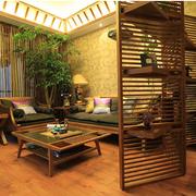 美式原木客厅隔断装饰