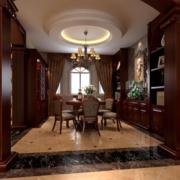 别墅美式客厅原木家具装饰