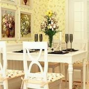 欧式田园风格简约餐厅背景墙装饰