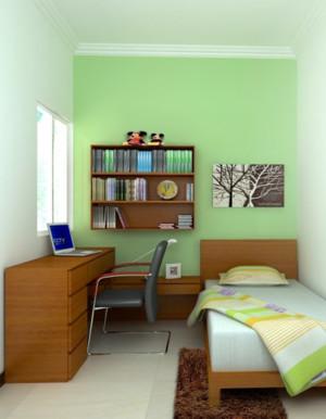 儿童房卧室绿色背景墙
