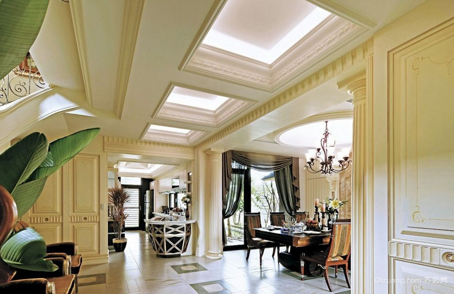 欧式风格石膏板走廊吊顶装饰
