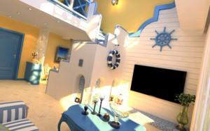 地中海简约客厅楼梯装饰