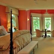 别墅卧室粉色系背景墙装饰