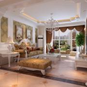 欧式奢华风格别墅客厅飘窗装饰