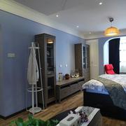 蓝紫色简约卧室背景墙装饰