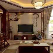 中式简约印花电视背景墙装饰