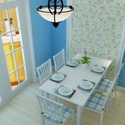 地中海风格餐厅小碎花背景墙装饰