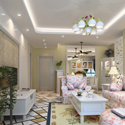 两室一厅简约风格印花电视背景墙装饰
