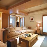 简约风格客厅原木吊顶装饰