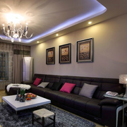 后现代风格客厅皮制沙发装饰