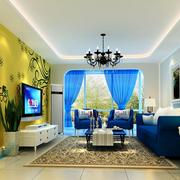 欧式黄色亮色系电视背景墙装饰